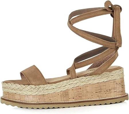 Women's Lace Up Platform Wedge Sandals