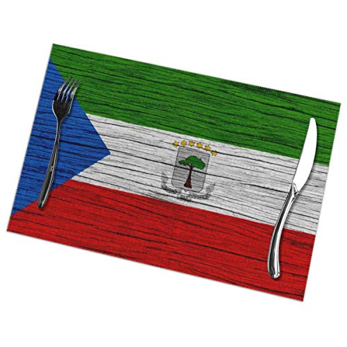 Nice Music Flag of Equatorial Guinea Wooden Texture 6 Piece Set of Placemats Pc Party Kitchen Dining Room Home Table Place Mat Patio Holidays Decorations Decor Ornament Themed Print Pattern Kid Girls ()
