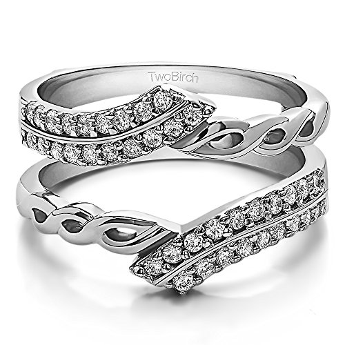 - TwoBirch .38CT White Sapphire Double Row Infinity Ring Guard Enhancer 18k White Gold (3/8CT)(Size 3-15,1/4 Sizes)