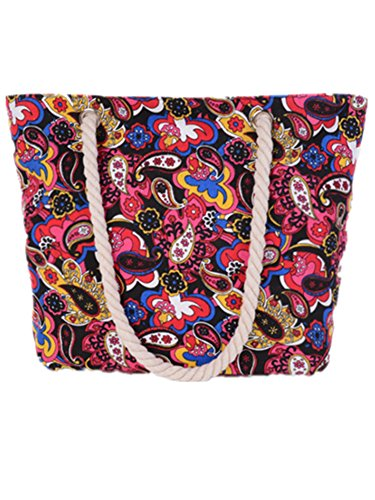 Bebelle Woman Totes Bag Handbags Women Canvas Travel Bag Bohemian Top Handle Shoulder Bag Large Bag Beach Holiday Shopping Bag Various Colors-44
