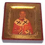 Saint Nicholas Icon with sheets of Gold (Lithography) - style IV (9x7 inches)