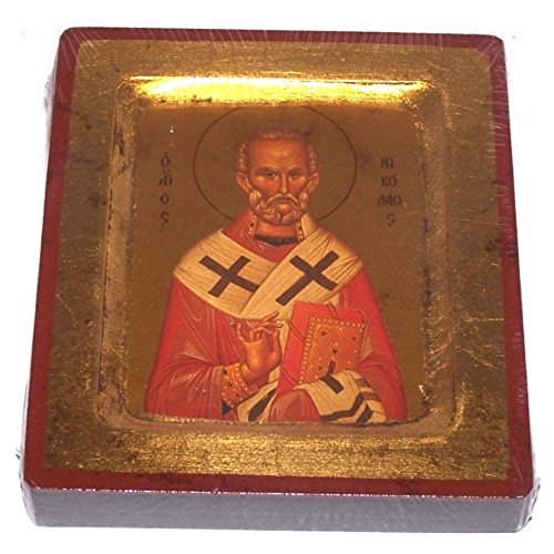HolyLandMarket – Icons Saint Nicholas Icon with Sheets of Gold Lithography – Style IV 7×5 inches