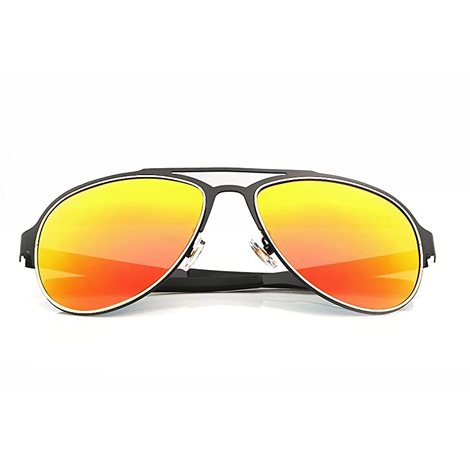 Menton Ezil Trendy polarizadas marco de metal aviador gafas de sol (lentes de espejo: Amazon.es: Ropa y accesorios