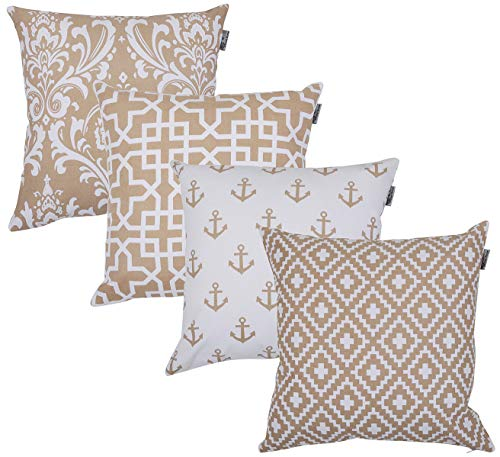 ACCENTHOME Accent Home Square Printed Cotton Cushion Cover,Throw Pillow Case, Slipover Pillowslip for Home Sofa Couch Chair Back Seat,4pc Pack 18x18 in Moon Light Color (Accent Pillows Beige)