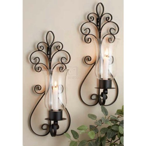 Wrought Iron Wall Decor Candle Holder Sconces Light