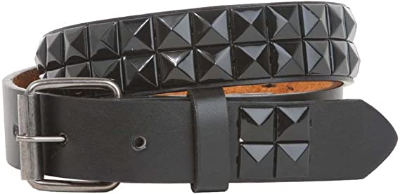 Kids 1 Snap On Punk Rock Multi Color Star Studded Checkerboard Leather Belt