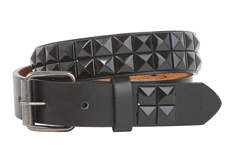 Kids 1 Snap On Punk Rock Black Star Studded Leather Belt