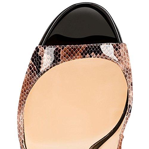 EDEFS - Zapatos con tacón Mujer Python-Braun
