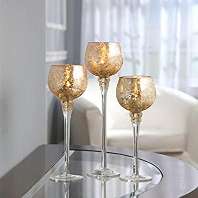 """Hosley's Set of 3 Crackle Gold Glass Tealight Holders (9"""", 10"""", & 12"""" High). Ideal for Weddings, Special Events, Parties. Also Makes a Great Gift. O3"""