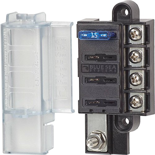 Blue Sea Systems ST Blade Fuse Block 4 Circuit Common Source & Cover - Blue Star Ltd