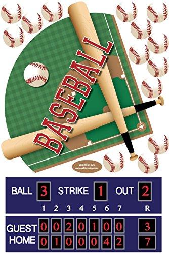 Large Baseball Diamond Wall Decals Scoreboard Baseballs (repositionable) Peel ()