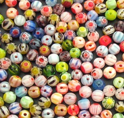 - XNJHMS 100 Pieces 4mm Millefiori Glass Round Beads - Mixed
