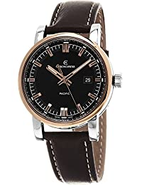Pacific Men's Black Dial Brown Leather Strap Rose Gold Automatic Swiss Watch CH-2882R-BK2