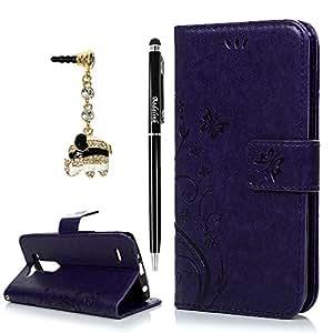 mini Case Cover LG G3, BADALink LG G3 mini funda de piel sintética con tapa de piel con soporte magnético con tapa convertible Fuction (dibujo gris) antipolvo móvil y lápiz capacitivo para pantalla táctil