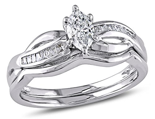 Marquise Cut 1/2 Carat (ctw) Diamond Engagement Ring & Wedding Band Set in 14K White Gold -