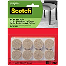 Scotch Mounting, Fastening & Surface Protection SP802-NA Scotch Brand, Premium Quality, by 3M, for Protecting Floors Felt Pads, Round 1 in. Diameter, Beige, 32 Pack