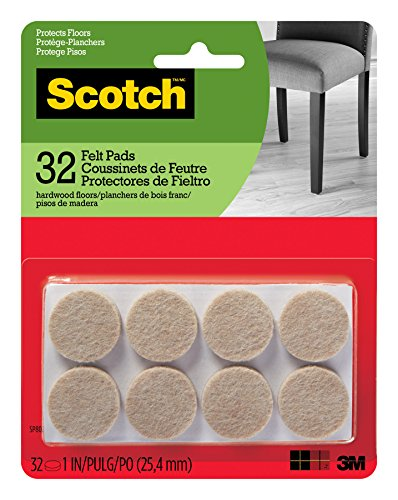 Scotch Brand SP802-NA Scotch Felt Pads Round, 1 in. Diameter, Beige, 32/Pack,