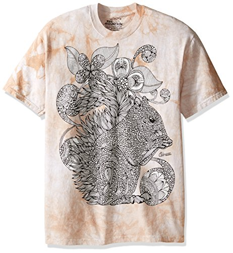 The Mountain Men's Colorwear Emaline Squirrel Adult Coloring T-Shirt, Tan, - Clothing Overstock Com