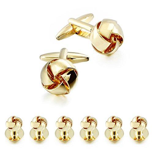 Gold Flower Link (HAWSON Personalize Flower Knot Man Shirt Tuxedo 6 Studs and 2 Cufflinks Set Gold)
