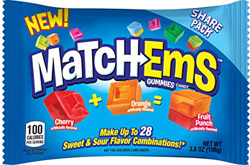 Match-Ems Gummies Candy from Bazooka, Mix, Match & Connect Assorted Sour & Fruit Flavors, 3.8 oz, 16Count
