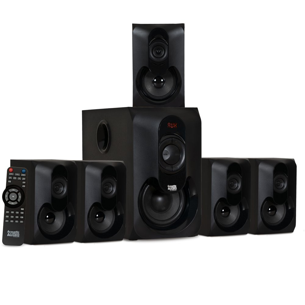 Acoustic Audio AA5301 Bluetooth Powered 5.1 Speaker System Home Theater Surround Sound by Acoustic Audio by Goldwood