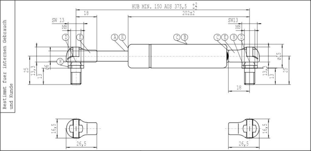 Stabilus 340000805 Molla a Gas Lift-O-Mat 1562Dh