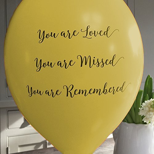 25 Yellow Funeral Remembrance Balloons 'You are Loved, Missed, Remembered' - by Angel & Dove   B0722YYJB2
