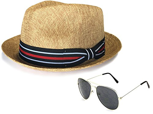Weight Linen (Men's Summer Lightweight Linen Fedora Hat With Aviator Sunglasses, LXL, Brown)