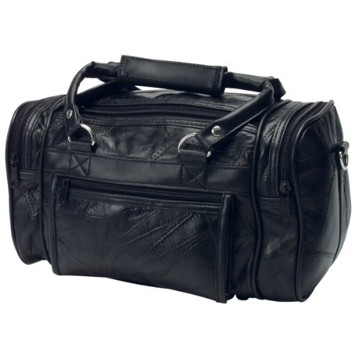 "RoadPro PLB-003 Black 12"" Patchwork 'Leather-Like' Shave Kit Bag from RoadPro"