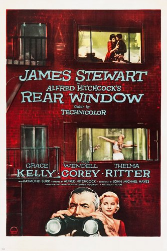 REAR WINDOW movie poster HITCHCOCK dir. james STEWART grace KELLY 24X36 (reproduction, (Original Series Window Graphics)