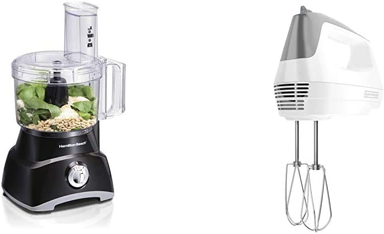 Hamilton Beach 8-Cup Compact Food Processor & Vegetable Chopper for Slicing, Shredding, Mincing, and puree, 450 Watts, Black (70740) & BLACK+DECKER Lightweight Hand Mixer, White, MX1500W