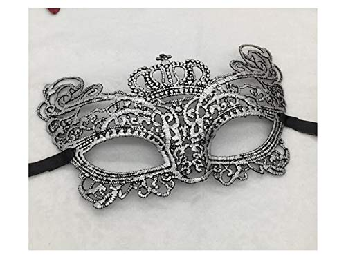 Zehaer Crafts Elegant Crown Half Face Festival Masquerade Mask Venetian Lace Cutout Mask (Silver) for Carnival -