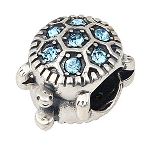 Sea Turtle Birthstone 925 Sterling Silver Bead Fits European Charm Aquamarine March Birthstone)