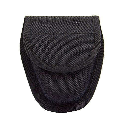 Magazine Case Belt - Hidden Snap Handcuff Case Law Enforcement Military Standard Cuff Pouch with Belt Loop Black