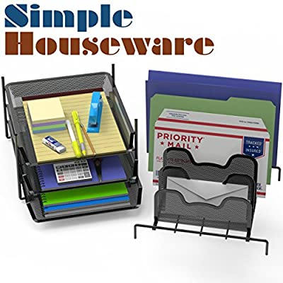 SimpleHouseware Desk 3 Sliding Tray and 5 Stacking Section Organizers