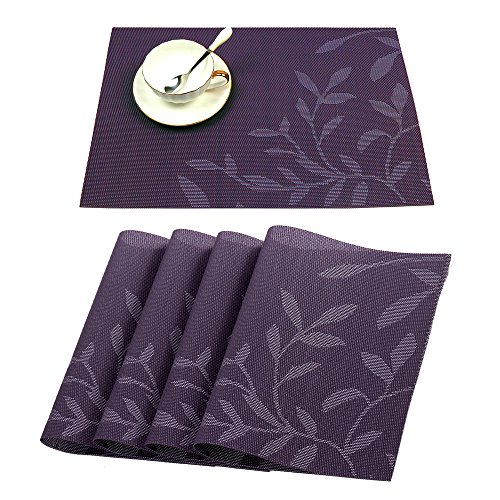 HEBE Washable Placemats Set of 4 Heat Resistant Place Mats for Kitchen Table Stain Resistant Anti-skid Dining Table Mats
