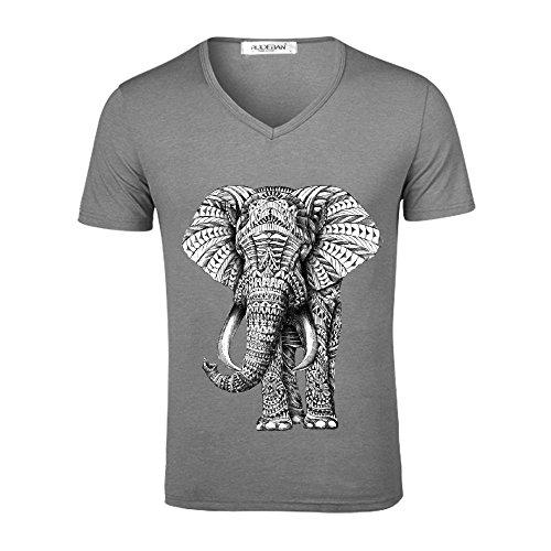 Ornate Elephant Men V Neck Print T Shirt Grey
