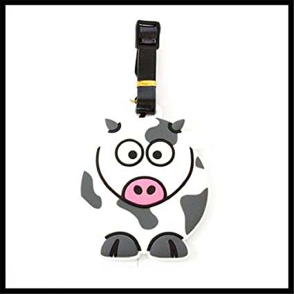 52227d1bda5c Cute Silicone Characters/Animals/Pirate Ship Luggage Tags/ID for Travel and  School (Cow)