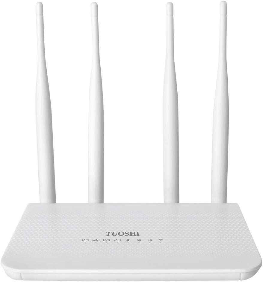 TUOSHI Unlocked 4G LTE Router with SIM Card Slot -Wireless WiFi Hotspot, Support T-Mobile AT&T (4 Antenna)