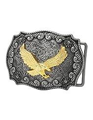 CBPEP284 Buckle Rage Antique Silver Decorative Golden Eagle Belt Buckle Snap On