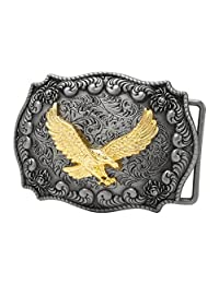 CBPEP284 Buckle Rage Antique Silver Decorative Golden Eagle Belt Buckle Snap On