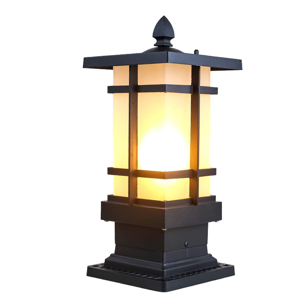 IBalody Vintage creativo E27 all'aperto lampade a colonna in vetro impermeabile nero retro industriale in alluminio luci post porta giardino di casa casa parco illuminazione luci decorative pilastro