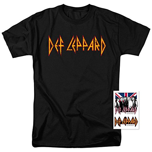 Def Leppard Logo Officially Licensed T-Shirt & Exclusive Stickers (Medium) - Band Logo Shirt