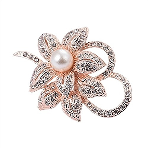 Jewby Fashionable Brooch Pins for Women Bouquet Flower Wedding Created Crystal Brooch (Rose gold) - Gold Flower Pin Brooch
