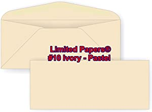 "Limited Papers (TM) #10 Regular Envelope - Pastel - Soft - 24# (4.8"" x 9.5"") - Announcement, Invoices, Statements, Checks, Letters, Contracts, Business Envelope (Ivory, 500)"
