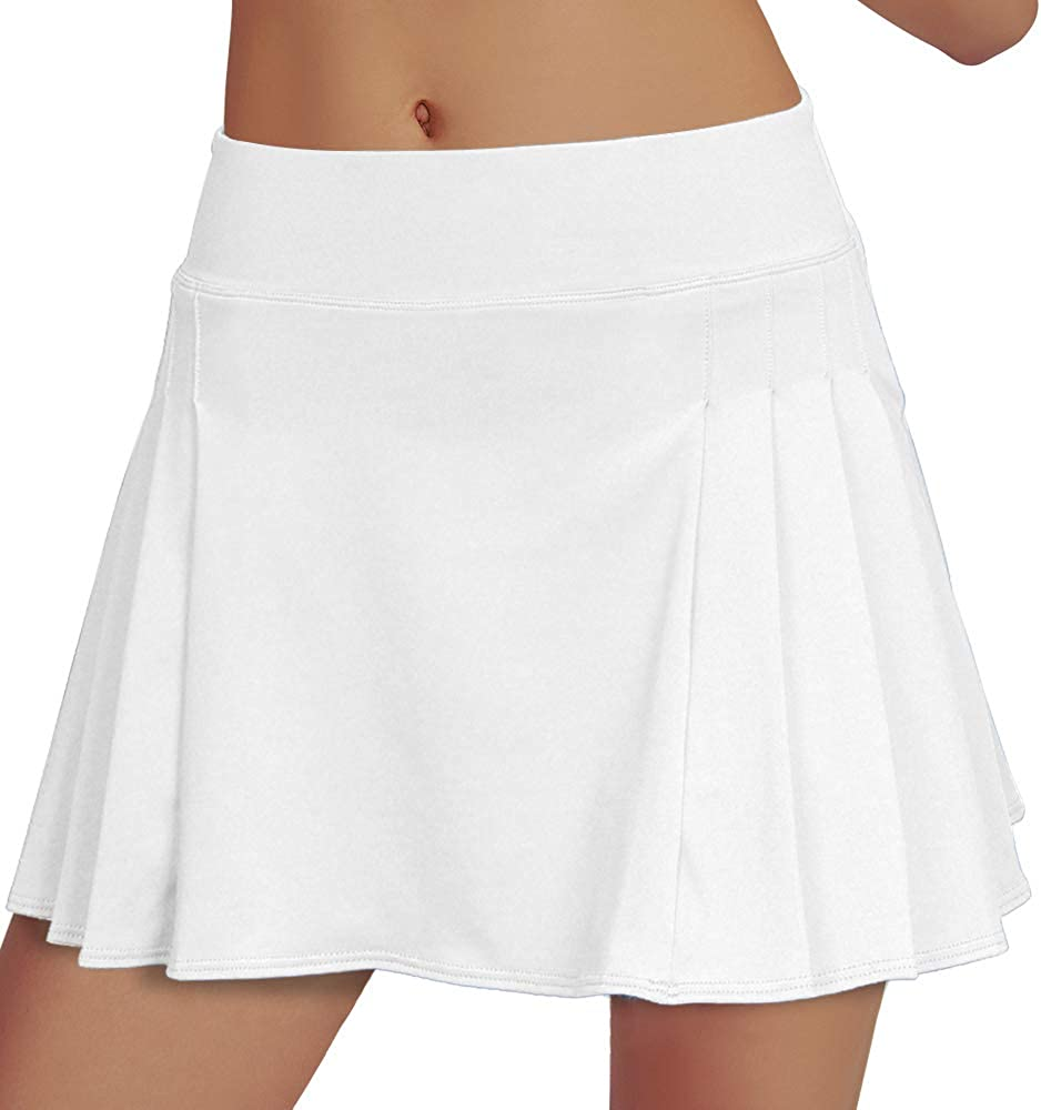 RainbowTree Women's Golf Skirt Tennis Skort Pleated with Side Inner Pockets Indoor Exercise