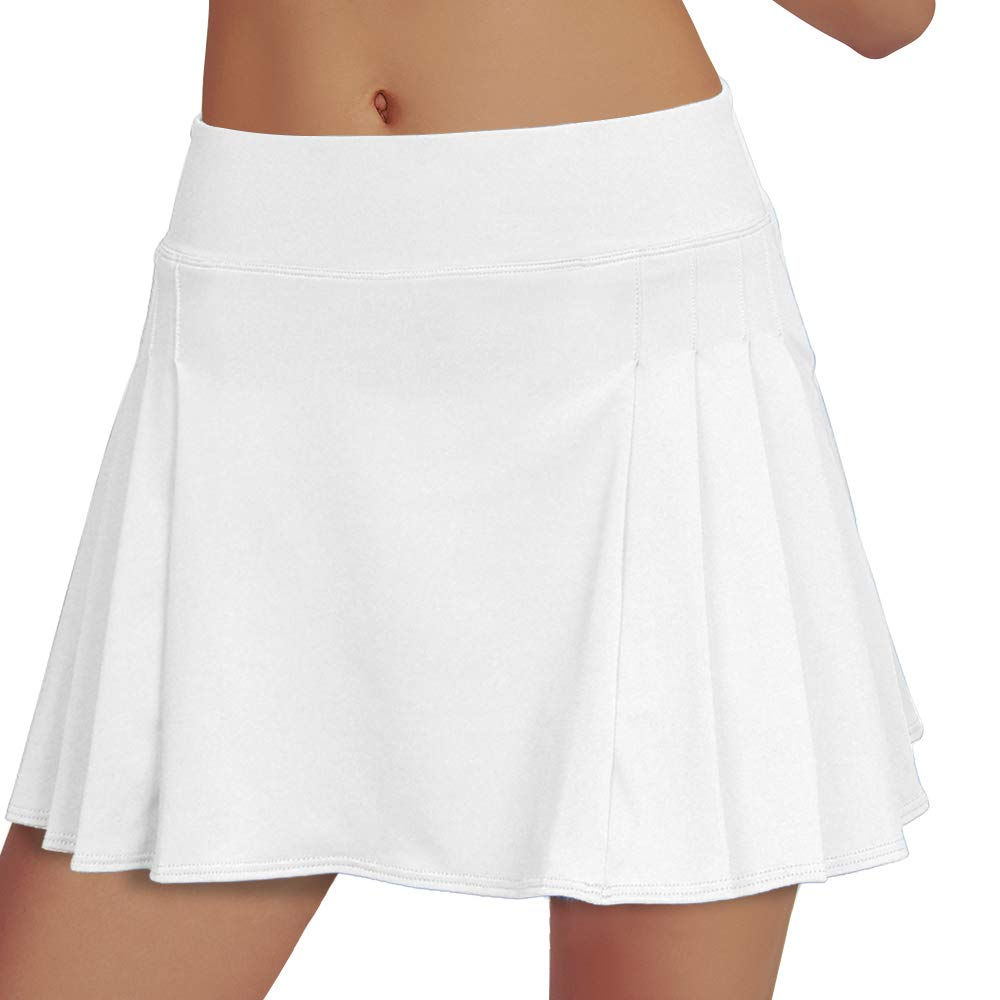 Women's Tennis Skirt Elastic Active Athletic Skort Lightweight Skirt Built-in Shorts for Running Tennis Golf Workout White by RainbowTree