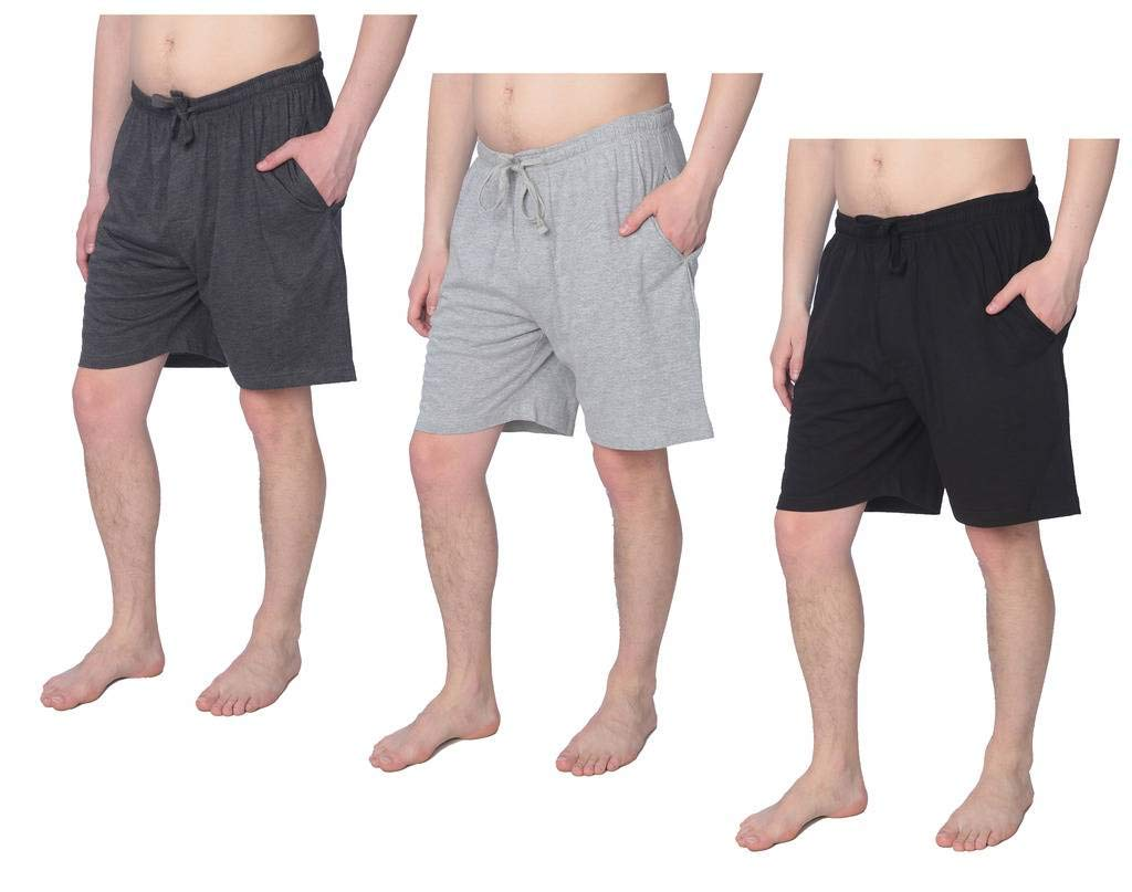 Beverly Rock Men's Jersey Knit Pajama Shorts Lounge Shorts Available in Plus Size MS01_18 3 Pack 2X
