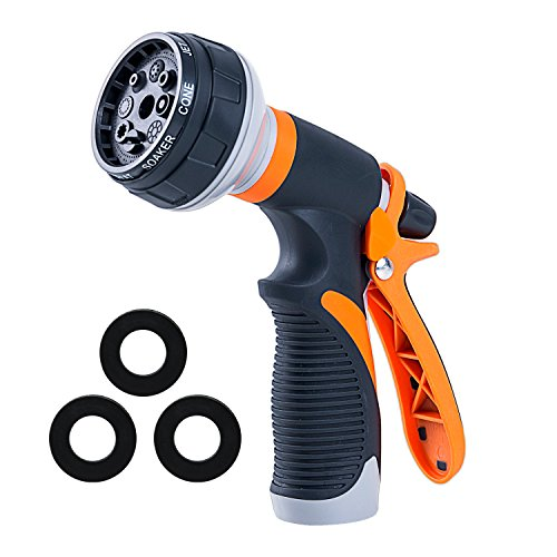 Garden Hose Nozzle Spray Nozzle, Metal Water Nozzle with Heavy Duty 8 Adjustable Watering Patterns, Slip and Shock Resistant for Ideal Watering Plants, Cleaning, Car Wash and Showering Pets by Doset