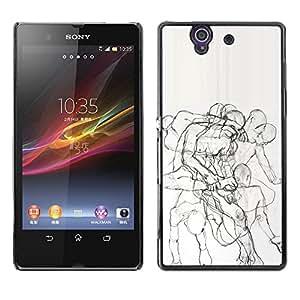 For Sony Xperia Z / L36H / C6602 / C6603 / C6606 / C6616 Case , Body Anatomy Drawing Pencil - Diseño Patrón Teléfono Caso Cubierta Case Bumper Duro Protección Case Cover Funda